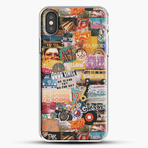 70S Vintage Vibe Collage iPhone X Case, White Plastic Case | JoeYellow.com