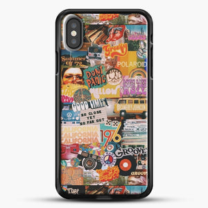 70S Vintage Vibe Collage iPhone X Case, Black Rubber Case | JoeYellow.com
