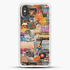 70S Vintage Vibe Collage iPhone X Case, White Rubber Case | JoeYellow.com