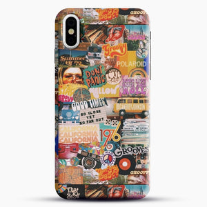 70S Vintage Vibe Collage iPhone X Case, Black Snap 3D Case | JoeYellow.com