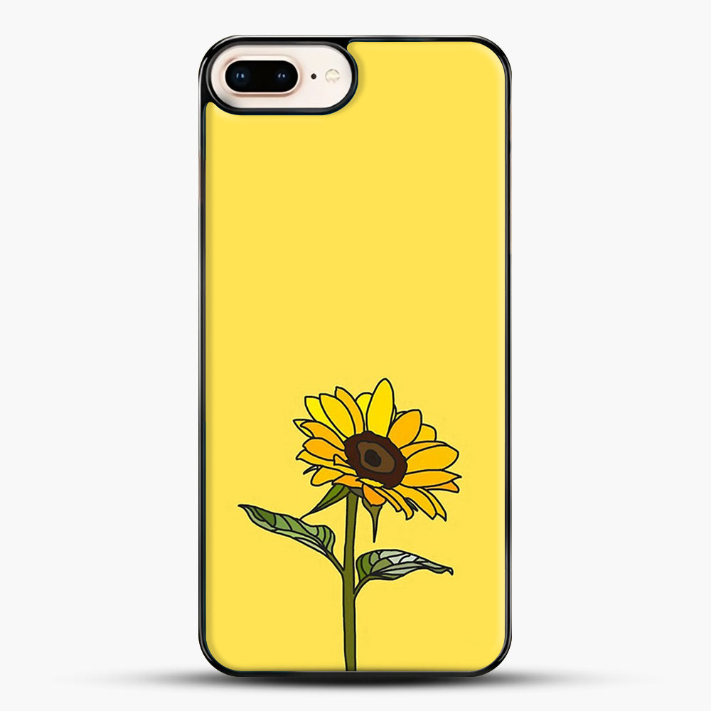 Aesthetic Sunflower iPhone 8 Plus Case, Black Plastic Case | JoeYellow.com
