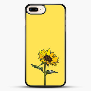 Aesthetic Sunflower iPhone 8 Plus Case, Black Rubber Case | JoeYellow.com