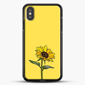 Aesthetic Sunflower iPhone X Case, Black Rubber Case | JoeYellow.com