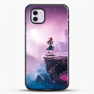 Anime Girl And Purple Rose iPhone 11 Case, Black Plastic Case | JoeYellow.com