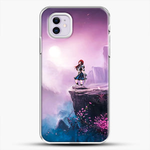 Anime Girl And Purple Rose iPhone 11 Case, White Plastic Case | JoeYellow.com