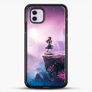 Anime Girl And Purple Rose iPhone 11 Case, Black Rubber Case | JoeYellow.com