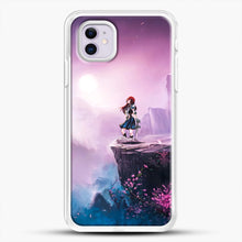 Load image into Gallery viewer, Anime Girl And Purple Rose iPhone 11 Case, White Rubber Case | JoeYellow.com