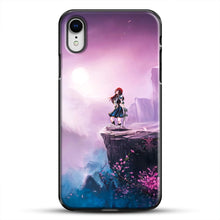 Load image into Gallery viewer, Anime Girl And Purple Rose iPhone XR Case, Black Plastic Case | JoeYellow.com