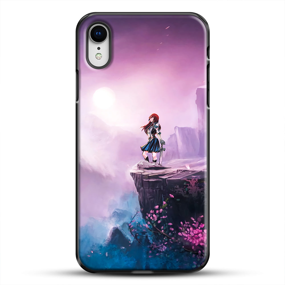 Anime Girl And Purple Rose iPhone XR Case, Black Plastic Case | JoeYellow.com