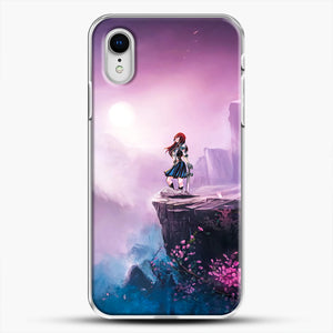 Anime Girl And Purple Rose iPhone XR Case, White Plastic Case | JoeYellow.com