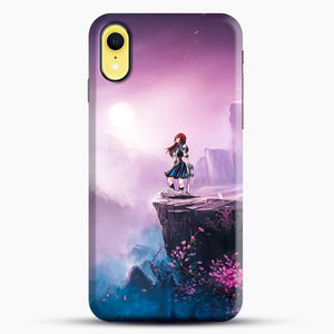 Anime Girl And Purple Rose iPhone XR Case, Black Snap 3D Case | JoeYellow.com