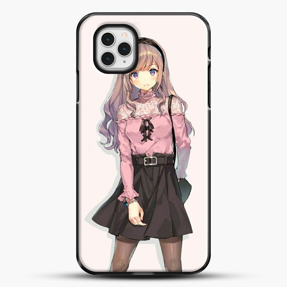 Anime Girl Pink Background iPhone 11 Pro Case, Black Plastic Case | JoeYellow.com