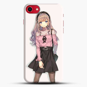 Anime Girl Pink Background iPhone 8 Case
