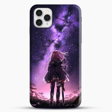 Load image into Gallery viewer, Anime Purple Sky iPhone 11 Pro Case, Black Snap 3D Case | JoeYellow.com