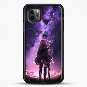 Anime Purple Sky iPhone 11 Pro Max Case, Black Rubber Case | JoeYellow.com