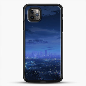 Anime Scenery City iPhone 11 Pro Max Case, Black Rubber Case | JoeYellow.com