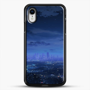 Anime Scenery City iPhone XR Case, Black Rubber Case | JoeYellow.com