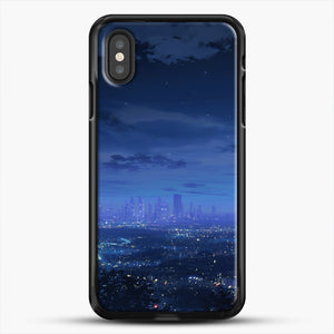 Anime Scenery City iPhone XS Case, Black Rubber Case | JoeYellow.com