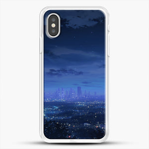 Anime Scenery City iPhone XS Case, White Rubber Case | JoeYellow.com