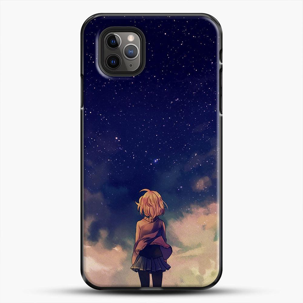 Anime Staring At The Sky iPhone 11 Pro Max Case, Black Plastic Case | JoeYellow.com