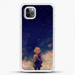 Anime Staring At The Sky iPhone 11 Pro Max Case, White Rubber Case | JoeYellow.com