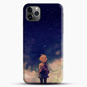 Anime Staring At The Sky iPhone 11 Pro Max Case, Black Snap 3D Case | JoeYellow.com