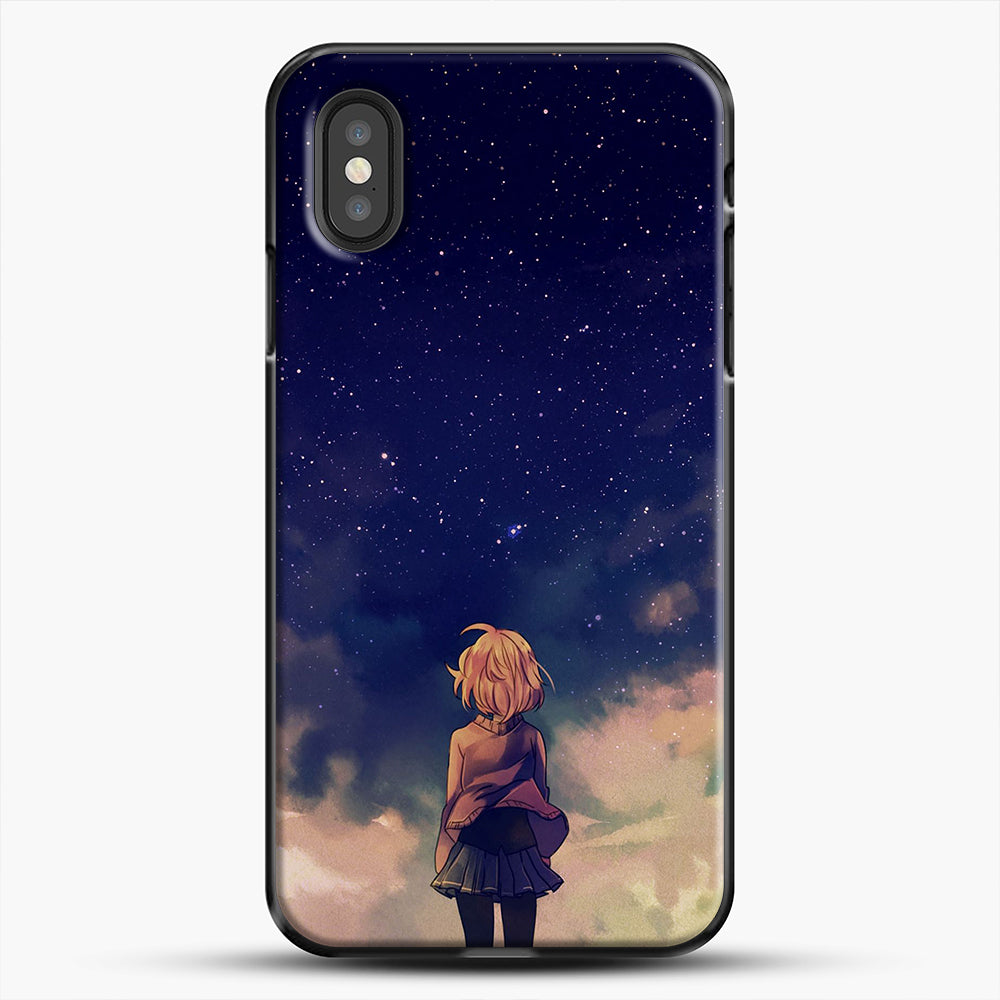 Anime Staring At The Sky iPhone XS Case, Black Plastic Case | JoeYellow.com