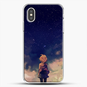Anime Staring At The Sky iPhone XS Case, White Plastic Case | JoeYellow.com