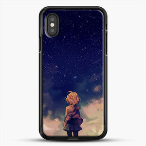 Anime Staring At The Sky iPhone XS Case, Black Rubber Case | JoeYellow.com