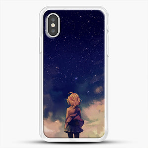 Anime Staring At The Sky iPhone XS Case, White Rubber Case | JoeYellow.com