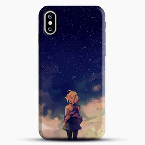 Anime Staring At The Sky iPhone XS Case, Black Snap 3D Case | JoeYellow.com
