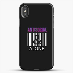 Anti Social And Alone iPhone X Case, Black Plastic Case | JoeYellow.com