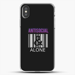 Anti Social And Alone iPhone X Case, White Plastic Case | JoeYellow.com