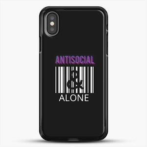 Anti Social And Alone iPhone X Case, Black Rubber Case | JoeYellow.com