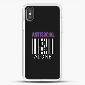 Anti Social And Alone iPhone X Case, White Rubber Case | JoeYellow.com