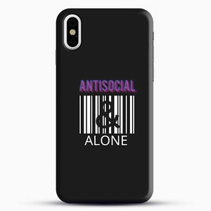 Anti Social And Alone iPhone X Case, Black Snap 3D Case | JoeYellow.com