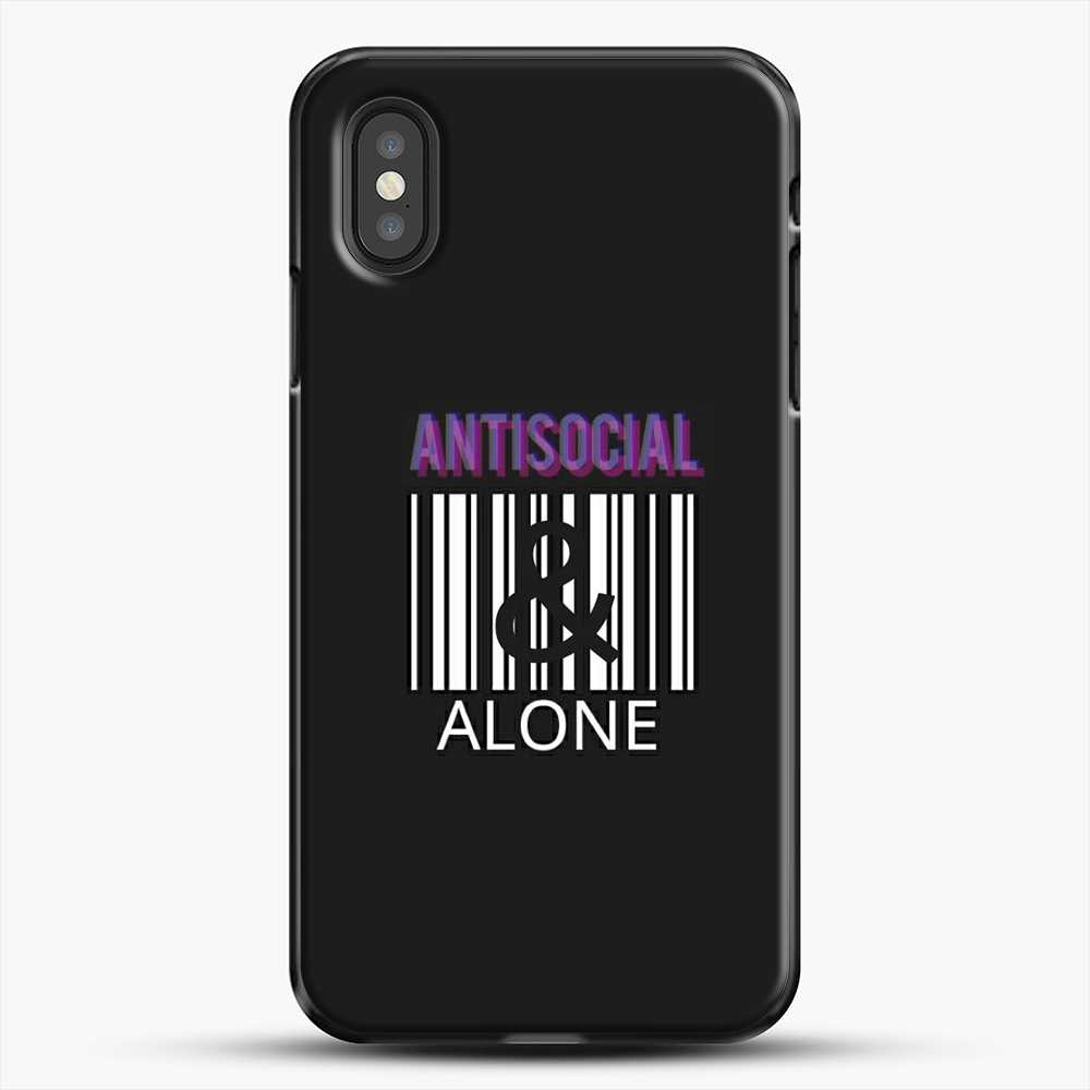 Anti Social And Alone iPhone XS Case, Black Plastic Case | JoeYellow.com
