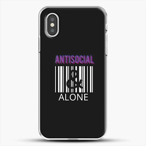 Anti Social And Alone iPhone XS Case, White Plastic Case | JoeYellow.com