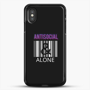 Anti Social And Alone iPhone XS Case, Black Rubber Case | JoeYellow.com