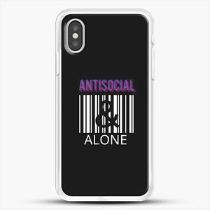 Anti Social And Alone iPhone XS Case, White Rubber Case | JoeYellow.com