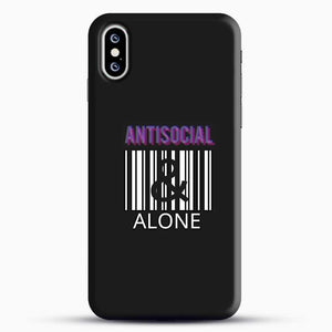 Anti Social And Alone iPhone XS Case, Black Snap 3D Case | JoeYellow.com