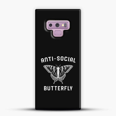 Anti Social Butterfly Samsung Galaxy Note 9 Case, Black Snap 3D Case | JoeYellow.com