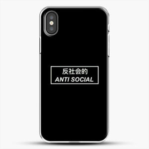 Anti Social Japanese Text iPhone X Case, White Plastic Case | JoeYellow.com