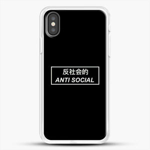 Anti Social Japanese Text iPhone X Case, White Rubber Case | JoeYellow.com