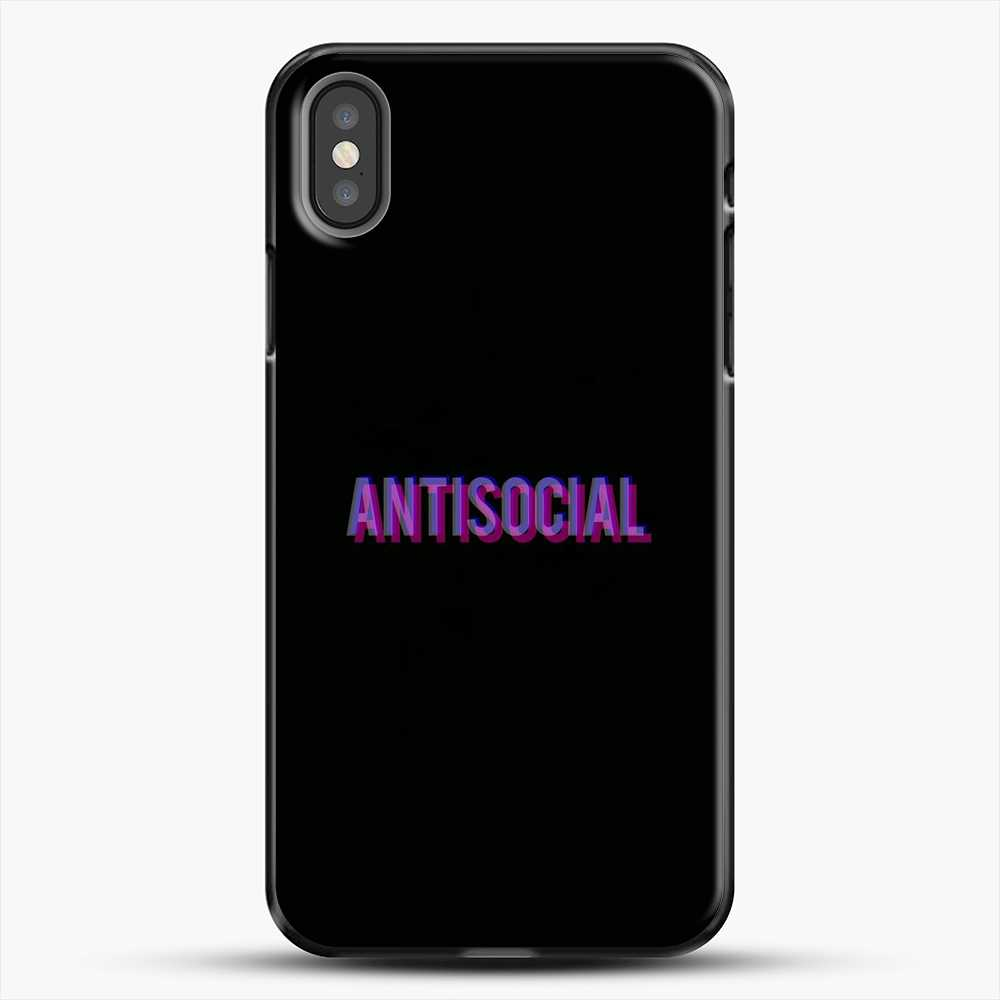 Anti Social Purple Shadow iPhone X Case, Black Plastic Case | JoeYellow.com