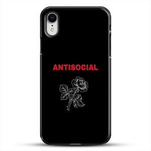 Anti Social Rose Sketch Image iPhone XR Case, Black Plastic Case | JoeYellow.com