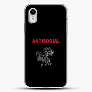 Anti Social Rose Sketch Image iPhone XR Case, White Plastic Case | JoeYellow.com