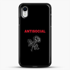 Anti Social Rose Sketch Image iPhone XR Case, Black Rubber Case | JoeYellow.com