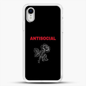 Anti Social Rose Sketch Image iPhone XR Case, White Rubber Case | JoeYellow.com