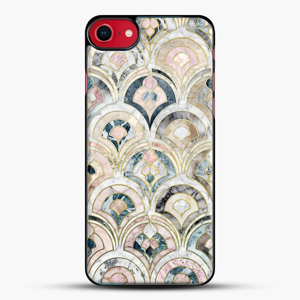 Art Deco Marble Tiles In Soft Pastels iPhone 7 Case, Black Plastic Case | JoeYellow.com